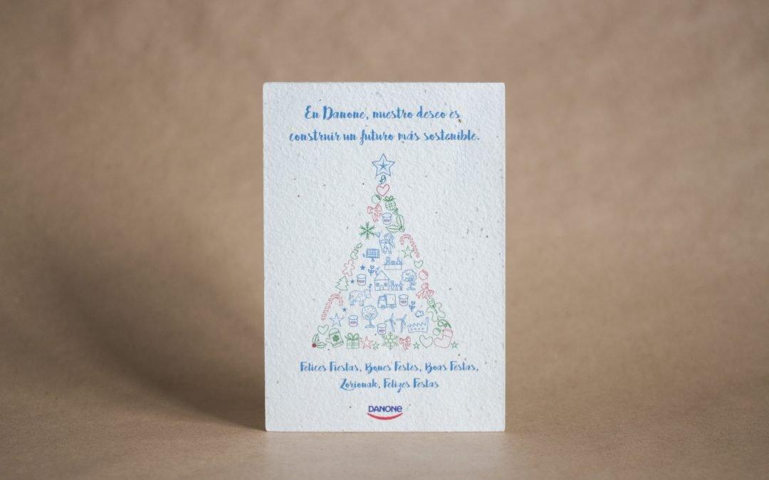 La postal plantable de Navidad de Danone